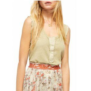 Free People NWT Vacay Linen Blend Tank Top